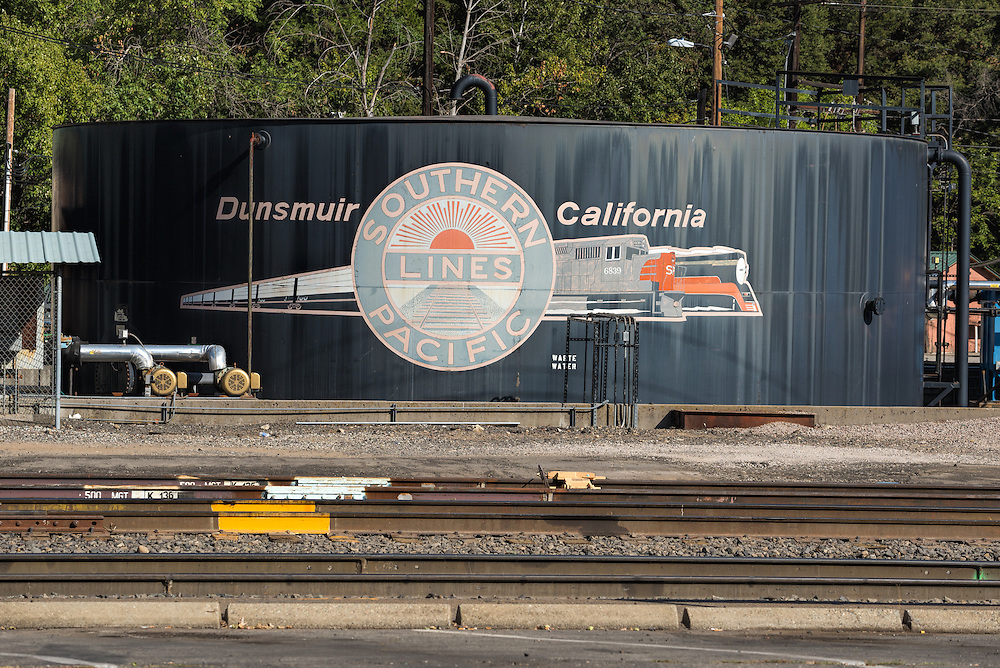 Above ground fuel storage tank in the rail yard in Dunsmuir, California.
