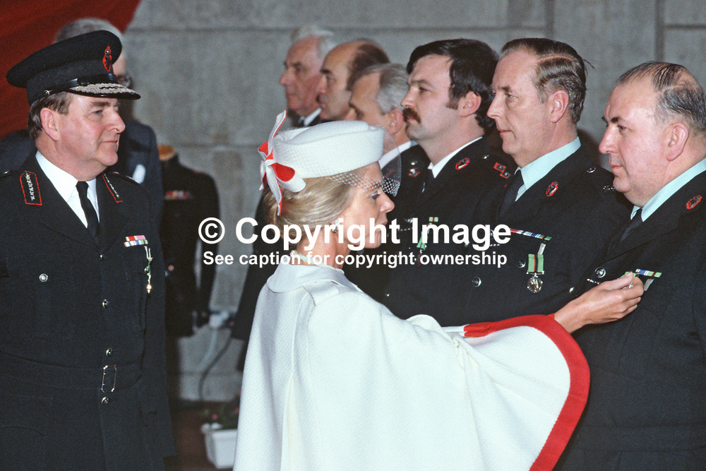The Duchess of Kent, accompanied by Sir John Hermon, Chief Constable, RUC, presents long service medals to police officers at a ceremony in Antrim, N Ireland. 198501000008b<br /> <br /> Copyright Image from Victor Patterson, Belfast, UK<br /> <br /> t: +44 28 9066 1296 (from Rep of Ireland 048 9066 1296)<br /> m: +44 7802 353836<br /> e: victorpattersonbelfast@gmail.com<br /> <br /> www.images4media.com<br /> <br /> Please see my full Terms and Conditions of Use at https://www.images4media.com/p/terms-conditions - it is IMPORTANT that you familiarise yourself with them.<br /> <br /> Images used online incur an additional cost. This cost should be agreed in writing in advance. Online images must be visibly watermarked i.e. © Victor Patterson or that of the named photographer within the body of the image. The original metadata must not be deleted from images used online.<br /> <br /> This image is only available for the use of the download recipient i.e. television station, newspaper, magazine, book publisher, etc, and must not be passed on to a third party. It is also downloaded on condition that each and every usage is notified within 7 days to victorpattersonbelfast@gmail.com.<br /> <br /> The right of Victor Patterson (or the named photographer) to be identified as the author is asserted in accordance with The Copyright Designs And Patents Act (1988). All moral rights are asserted.