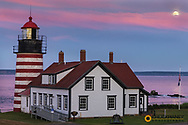 West Quoddy Head Lightouse is the easternmost most point in USA near Lubec, Maine, USA