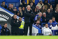 Steve McClaren, the Newcastle United manager looks on from the touchline. Barclays Premier league match, Chelsea v Newcastle Utd at Stamford Bridge in London on Saturday 13th February 2016.<br /> pic by John Patrick Fletcher, Andrew Orchard sports photography.