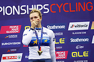 Podium, Women Keirin, Mathilde Gros (France) Gold medal during the Track Cycling European Championships Glasgow 2018, at Sir Chris Hoy Velodrome, in Glasgow, Great Britain, Day 6, on August 7, 2018 - Photo luca Bettini / BettiniPhoto / ProSportsImages / DPPI<br /> - Restriction / Netherlands out, Belgium out, Spain out, Italy out -