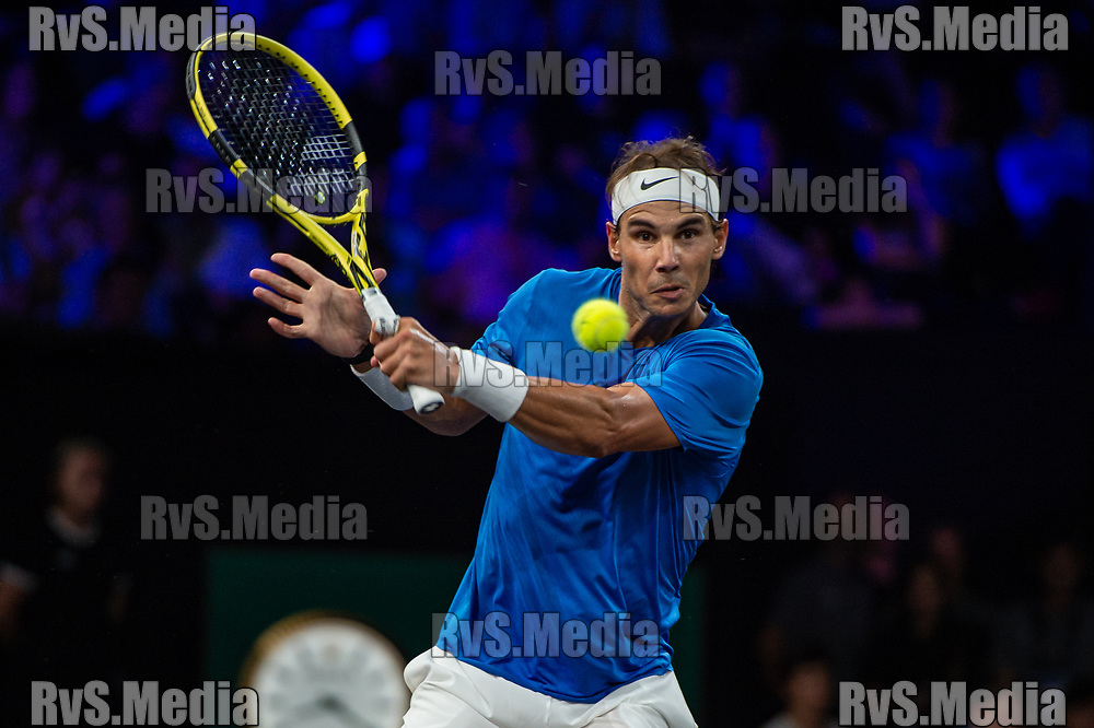 GENEVA, SWITZERLAND - SEPTEMBER 21: Rafael Nadal of Team Europe plays a backhand during Day 2 of the Laver Cup 2019 at Palexpo on September 21, 2019 in Geneva, Switzerland. The Laver Cup will see six players from the rest of the World competing against their counterparts from Europe. Team World is captained by John McEnroe and Team Europe is captained by Bjorn Borg. The tournament runs from September 20-22. (Photo by Monika Majer/RvS.Media)