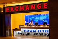 Foreign exchange dealer, Duty Free Rotunda, Ben Gurion International Airport, Israel.