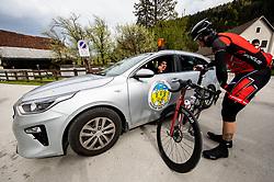 Riders in Gornji Grad during 3rd Stage from Soca to Prevalje, 230km at Day 3 of DOS 2021 Charity event - Dobrodelno okrog Slovenije, on April 29, 2021, in Slovenia. Photo by Vid Ponikvar / Sportida