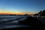 Mt Fuji with Enoshima Island and beach at sun set
