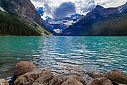 Lake Louise is located in Banff National Park in the Canadian Rockies.
