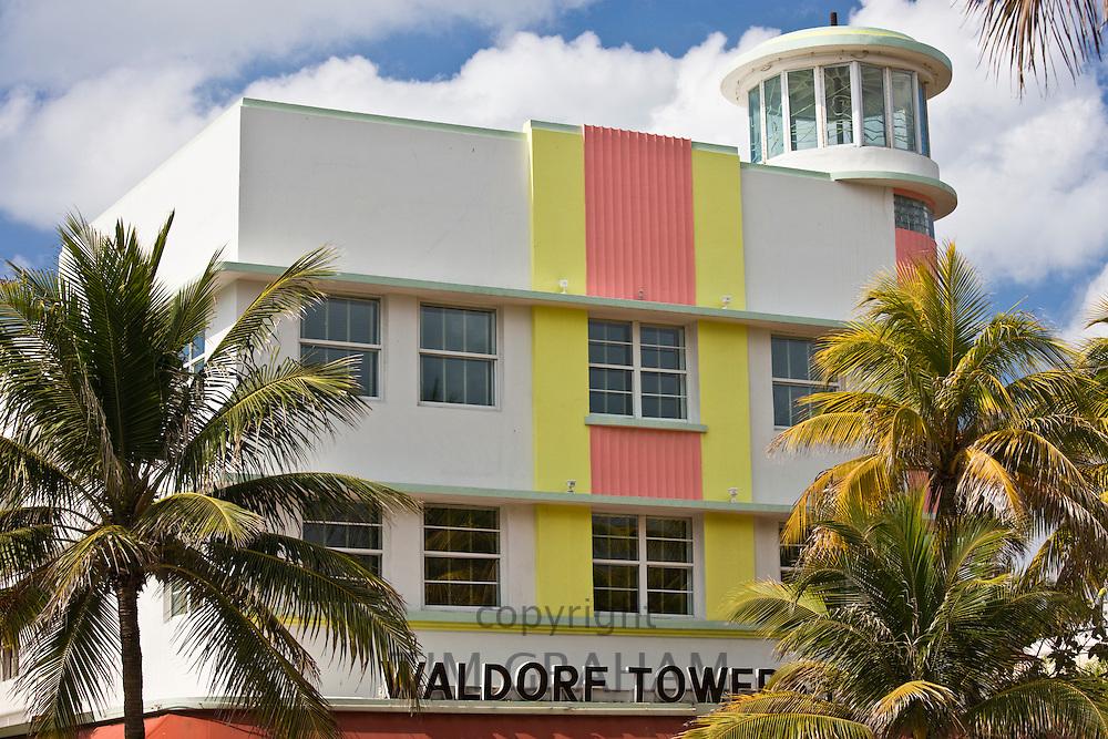 Waldorf Towers Hotel art deco architecture on Ocean Drive, South Beach, Miami, Florida, USA