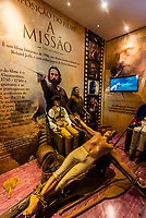 """A display about the movie """"The Mission"""" which was made in the area. Triple Borders Landmark (Marco das Tres Fronteiras), where the borders of Brazil, Argentina and Paraguay meet at the confluence of the Iguazu and Parana Rivers."""