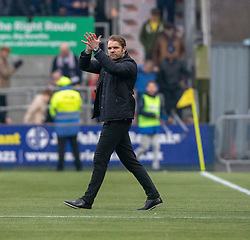 Falkirk's manager Ray McKinnon and Dundee United's manager Robbie Neilson at the end. Falkirk 1 v 1 Dundee United, Scottish Championship game played 23/2/2019 at The Falkirk Stadium.