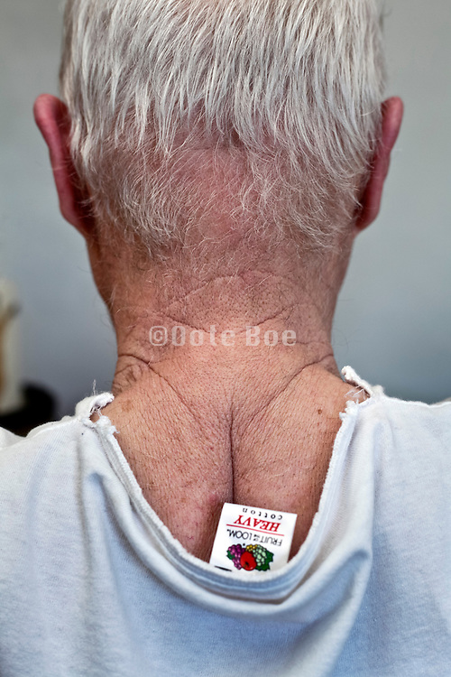 back view of senior man with white gray hair
