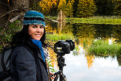 Eleanore capturing the beauty of a beaver pond in Grand Teton National Park.