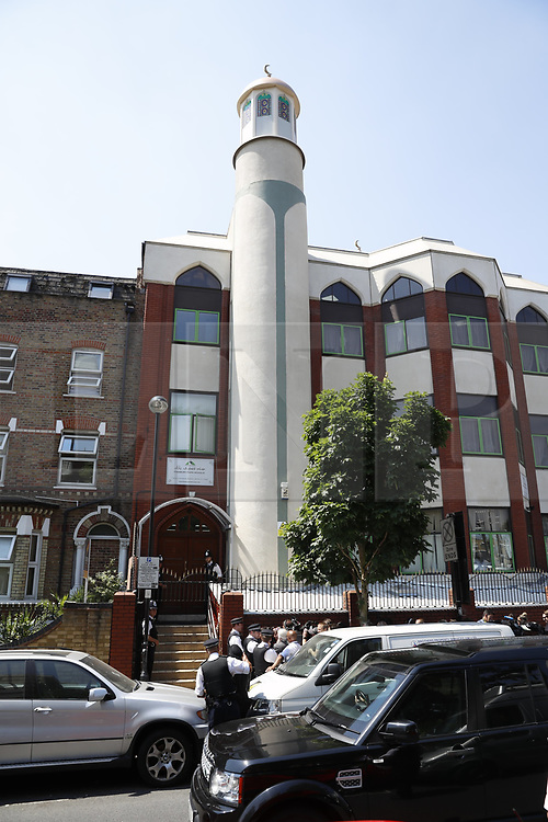 © Licensed to London News Pictures. 19/06/2017. London, UK. Prime Minister Theresa May leaves Finsbury Park Mosque. The scene at Finsbury Park in north London where a van ploughed into a crowd outside Finsbury Park Mosque, as they finished taraweeh, Ramadan evening prayers. One person has been killed and 10 people are injured. Photo credit: Peter Macdiarmid/LNP