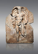 Roman Sebasteion relief sculpture of the god Okeanos (Ocean), Aphrodisias Museum, Aphrodisias, Turkey. <br /> <br /> The bearded of Okeanos makes an epiphany, controlling his cloak which billows around his head. Ocean would be paired with Earth: together they represented empire without end, over land and sea .<br /> <br /> If you prefer to buy from our ALAMY STOCK LIBRARY page at https://www.alamy.com/portfolio/paul-williams-funkystock/greco-roman-sculptures.html . Type -    Aphrodisias     - into LOWER SEARCH WITHIN GALLERY box - Refine search by adding a subject, place, background colour, museum etc.<br /> <br /> Visit our ROMAN WORLD PHOTO COLLECTIONS for more photos to download or buy as wall art prints https://funkystock.photoshelter.com/gallery-collection/The-Romans-Art-Artefacts-Antiquities-Historic-Sites-Pictures-Images/C0000r2uLJJo9_s0