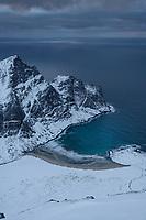Winter view over Isolated Horseid beach from Blekktind, Lofotodden national park, Lofoten Islands, Norway
