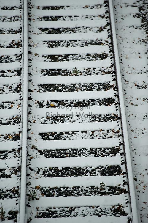 2010 November 22 - Snow on old railroad tracks near Jack Block Park in West Seattle, WA, USA. CREDIT: Richard Walker