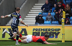 Saracens' Matt Gallacher scores try during win over Sale Sharks during the Aviva Premiership match at The AJ Bell Stadium, Sale.
