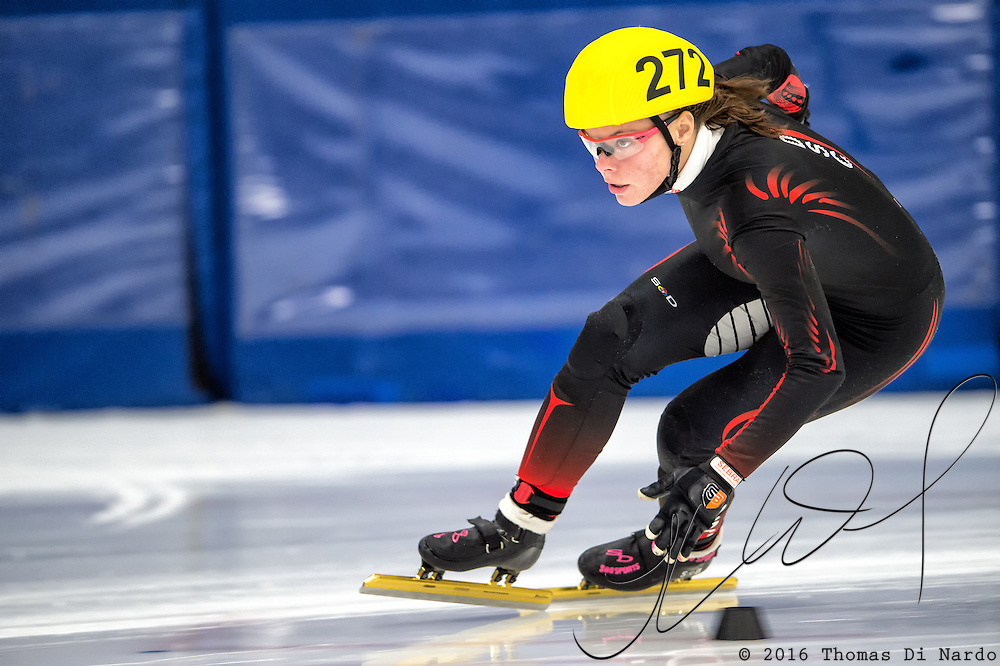March 20, 2016 - Verona, WI - Jamie Jurak, skater number 272 competes in US Speedskating Short Track Age Group Nationals and AmCup Final held at the Verona Ice Arena.