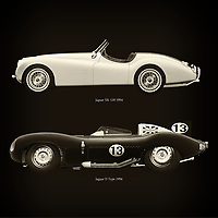 For the lover of old classic cars, this combination of a Jaguar XK-120 1954 and Jaguar D Type 1956 is truly a beautiful work to have in your home.<br /> The classic Jaguar XK-120 and the beautiful Jaguar D Type are among the most beautiful cars ever built.<br /> You can have this work printed in various materials and without loss of quality in all formats.<br /> For the oldtimer enthusiast, the series by the artist Jan Keteleer is a dream come true. The artist has made a fine selection of the very finest cars which he has meticulously painted down to the smallest detail. – –<br /> -<br /> <br /> BUY THIS PRINT AT<br /> <br /> FINE ART AMERICA<br /> ENGLISH<br /> https://janke.pixels.com/featured/jaguar-xk-120-1954-and-jaguar-d-type-1956-jan-keteleer.html<br /> <br /> WADM / OH MY PRINTS<br /> DUTCH / FRENCH / GERMAN<br /> https://www.werkaandemuur.nl/nl/werk/Jaguar-XK-120-1954-en-Jaguar-D-Type-1956/757757/93?mediumId=1&size=60x60<br /> –