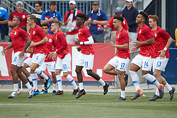 May 28, 2018 - Chester, PA, U.S. - CHESTER, PA - MAY 28: United States midfielder Tim Weah (11), United States midfielder Weston McKennie (6), United States defender Antonee Robinson (17), United States forward Josh Sargent (13), United States defender Erik Palmer-Brown (14), United States midfielder Christian Pulisic (10) and teammates warm up during the international friendly match between the United States and Bolivia at the Talen Energy Stadium on May 28, 2018 in Chester, Pennsylvania. (Photo by Robin Alam/Icon Sportswire) (Credit Image: © Robin Alam/Icon SMI via ZUMA Press)