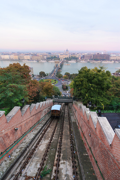 The Budapest Castle Hill Funicular or Budavári Sikló in Budapest, Hungary. The funicular connects the Adam Clark Square to Buda Castle Hill. It was built in 1870 for the commute vehicle for the clerks working in the Castle District that was 51 meters above the river.