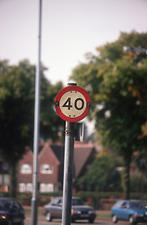Road sign in city centre indicating speed limit,