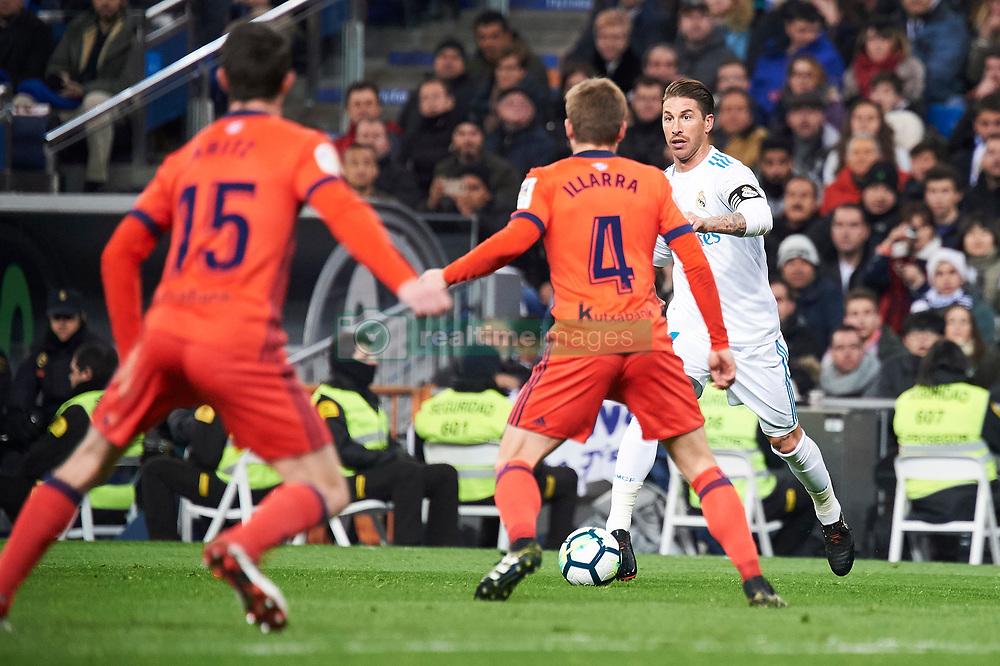 Real Madrid and Real Sociedad at Santiago Bernabeu on February 10, 2018 in Madrid, Spain. 10 Feb 2018 Pictured: Sergio Ramos (defender; Real Madrid), Asier Illarramendi (midfielder; Real Sociedad). Photo credit: MEGA TheMegaAgency.com +1 888 505 6342