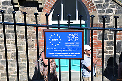 European Regional Development Fund sign, Tenby, Pembrokeshire South Wales 2021. EC funded heavily in Wales yet the region voted to leave Europe in the Brexit referendum