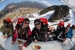 """Panoramic view of Zavarovalnica Triglav named """"Dinner in the sky"""" during Men Giant Slalom race of FIS Alpine Ski World Cup 54th Vitranc Cup 2015, on March 14, 2015 in Kranjska Gora, Slovenia. Photo by Vid Ponikvar / Sportida"""