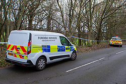 "© Licensed to London News Pictures. 07/12/2019. Gerrards Cross, UK. A forensic van and police car parked next to a cordon as London's Metropolitan Police Service searches woodland in Gerrards Cross, Buckinghamshire. Police have been in the area conducting operations since Thursday 5th December 2019 and are searching two areas on Hedgerley Lane. In a press statement a Metropolitan Police spokesperson said ""Officers are currently in the Gerrards Cross area of Buckinghamshire as part of an ongoing investigation.<br /> ""We are not prepared to discuss further for operational reasons.""<br /> Photo credit: Peter Manning/LNP"