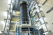 An Ariane 5 rocket booster in Europropulsion's Booster Integration Building at European Space Agency, Kourou..