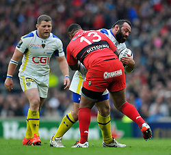 Davit Zirakashvili of Clermont Auvergne is tackled - Photo mandatory by-line: Patrick Khachfe/JMP - Mobile: 07966 386802 02/05/2015 - SPORT - RUGBY UNION - London - Twickenham Stadium - ASM Clermont Auvergne v RC Toulon - European Rugby Champions Cup Final