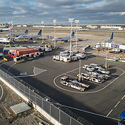 Airplanes are seen on the tarmac at JFK International Airport during the holiday season with the Coronavirus (Covid-19) outbreak in Queens, New York on Tuesday, December 8, 2020. (Alex Menendez via AP)