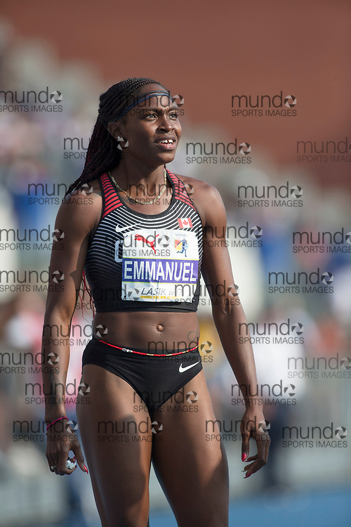 Toronto, ON -- 11 August 2018: Crytal Emmanuel celebrates bronze in the 100m at the 2018 North America, Central America, and Caribbean Athletics Association (NACAC) Track and Field Championships held at Varsity Stadium, Toronto, Canada. (Photo by Sean Burges / Mundo Sport Images).