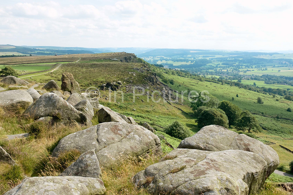 Curbar Edge and the surrounding countryside looking towards Burbage Edge in the Peak District National Park on 8 July 2017 in  Derbyshire, United Kingdom