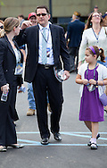 """James Edward """"Jim"""" McGreevey with his daughter arives at the dedication ceremony of the  Empty Sky  9/11 Memorial at Liberty State Park in New Jersey  on September 10, 2011 . <br /> The memorial is two 30-Ft rectangular towers  208 feet by 10 inches long,  the width of the World Trade Center towers and with the names of the 746 New Jerseyans who perished after the terrorist attacks on 9/11, 2001  etched in stainless steel"""