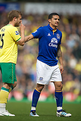 NORWICH, ENGLAND - Saturday, April 7, 2012: Everton's Nikica Jelavic  shows his disappontment as his brace was not enough to give Everton all the three points  in  the Premiership match at Carrow Road. (Pic by Marcello Pozzetti/Propaganda)NORWICH, ENGLAND - Saturday, April 7, 2012: Everton's Tim Cahill in  the Premiership match at Carrow Road. (Pic by Marcello Pozzetti/Propaganda)
