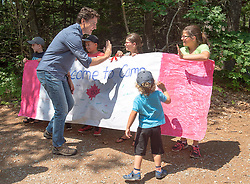 Prime Minister Justin Trudeau and his son Hadrien greet campers at the Out and About Day camp at the Islands Provincial Park in Shelburne, N.S., Canada, on Friday, July 21, 2017. Photo by Andrew Vaughan/CP/ABACAPRESS.COM