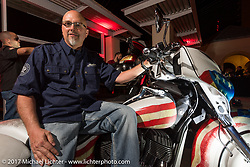 Tim Sutherland of Coastal Indian with his new custom Indian Chieftain at the Indian new bike reveal party at the Hilton Hotel during Daytona Bike Week. Daytona Beach, FL, USA. Friday March 10, 2017. Photography ©2017 Michael Lichter.