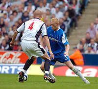 Photo: Leigh Quinnell.<br /> West Brom v Birmingham City. The Barclays Premiership.<br /> 27/08/2005. Birminghams Mikael Forssell looks for a way past West Broms Thomas Gaardsoe.