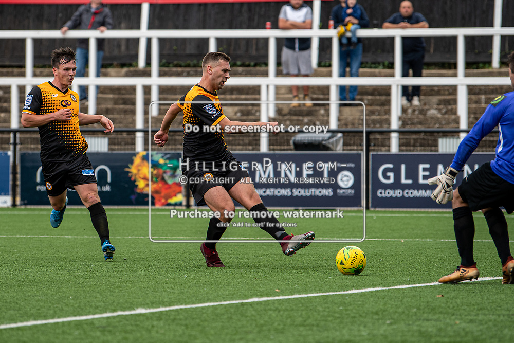 BROMLEY, UK - SEPTEMBER 22: Joseph Taylor, of Cray Wanderers FC, opens the scoring during the Emirates FA Cup Second Round Qualifier match between Cray Wanderers and Soham Town Rangers at Hayes Lane on September 22, 2019 in Bromley, UK. <br /> (Photo: Jon Hilliger)