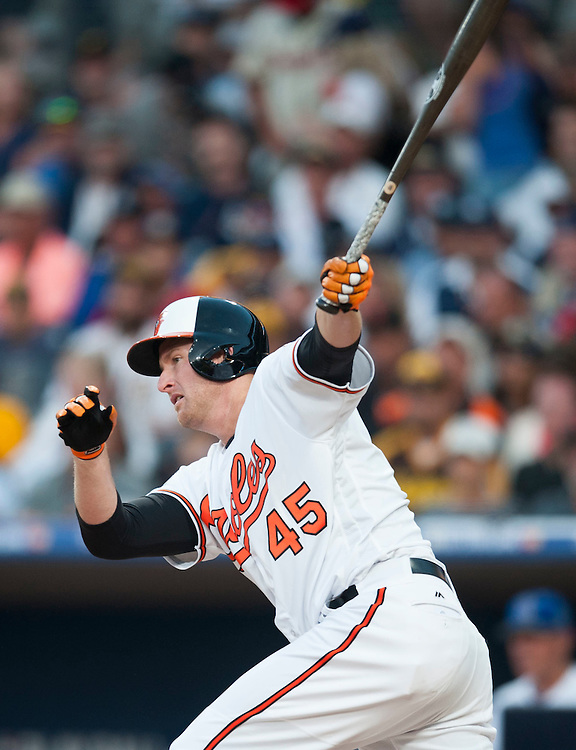 The Orioles' Mark Trumbo, of Villa Park, hits during the 2016 MLB All-Star Game at Petco Park in San Diego on Tuesday.<br /> <br /> ///ADDITIONAL INFO:   <br /> <br /> allstar.0713.kjs  ---  Photo by KEVIN SULLIVAN / Orange County Register  -- 7/12/16<br /> <br /> The 2016 MLB All-Star Game at Petco Park in San Diego.