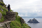 Old Monastic ruins from the monks who lived on The Skelligs Rocks off the Kerry coast in Southern Ireland.<br /> Picture by Don MacMonagle-macmonagle.com