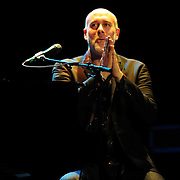 Marc Cohn introduces a song while performing at The Music Hall, Portsmouth, NH