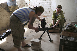May 7, 2017 - Zaytsevo, Ukraine - Ukrainian paratroopers  prepares heavy machine gun at the front  line near Zaytsevo village, Donetsk region, May 7, 2017. (Credit Image: © Anatolii Stepanov via ZUMA Wire)