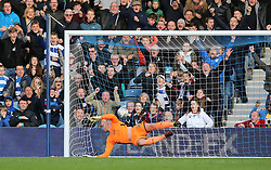 QPR's Matt Smith (not pictured) beats Wolverhampton Wanderers goalkeeper John Ruddy to score his side's second goal of the game during the Sky Bet Championship match at Loftus Road, London.