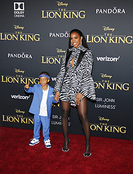 Kelly Rowland and Titan Jewell Weatherspoon at the World premiere of 'The Lion King' held at the Dolby Theatre in Hollywood, USA on July 9, 2019.