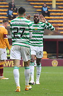 GOAL 1-4 Olivier Ntcham (Celtic) celebrates with Mohamed Elyounoussi (Celtic) during the Scottish Premiership match between Motherwell and Celtic at Fir Park, Motherwell, Scotland on 8 November 2020.