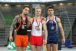05-04-2015 SLO: World Challenge Cup Gymnastics, Ljubljana<br /> Marco Rizzo of Switzerland, second place for Bart Deurloo of Netherland and third place for  Vitalijs Kardasovs of Latvia in Vault during Final of Artistic Gymnastics World Challenge Cup Ljubljana, on April 5, 2015 in Arena Stozice, Ljubljana, Slovenia. Photo by Morgan Kristan / RHF Agency