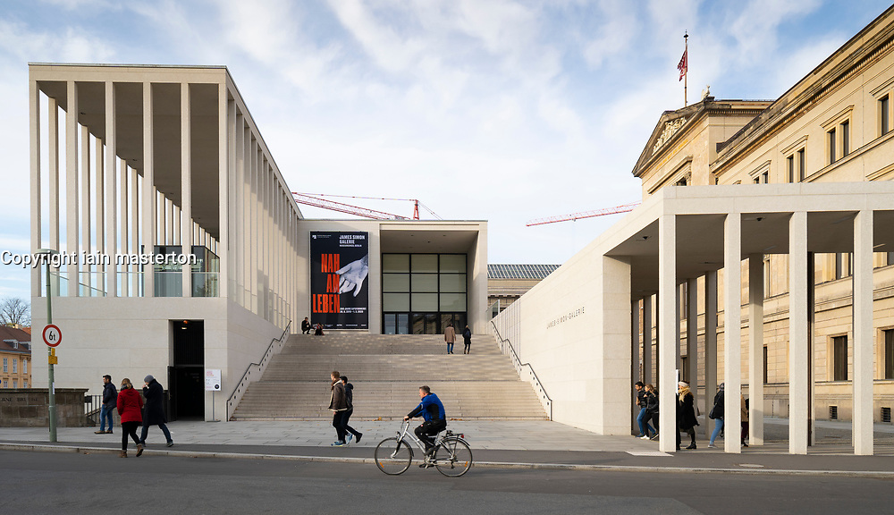 View of exterior of James Simon Galerie at Museum Island , Museumsinsel in Mitte Berlin, Germany, Architect David Chipperfield.