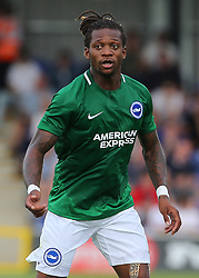 """Brighton and Hove Albion'ss Gaetan Bong during a pre season friendly match at The Cherry Red Records Stadium, Kingston Upon Thames. PRESS ASSOCIATION Photo. Picture date: Saturday July 21, 2018. Photo credit should read: Mark Kerton/PA Wire. EDITORIAL USE ONLY No use with unauthorised audio, video, data, fixture lists, club/league logos or """"live"""" services. Online in-match use limited to 75 images, no video emulation. No use in betting, games or single club/league/player publications."""